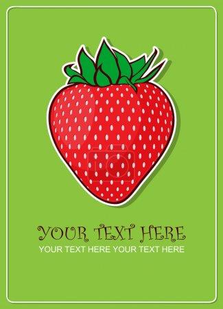 Strawberries greeting card. Vector illustration