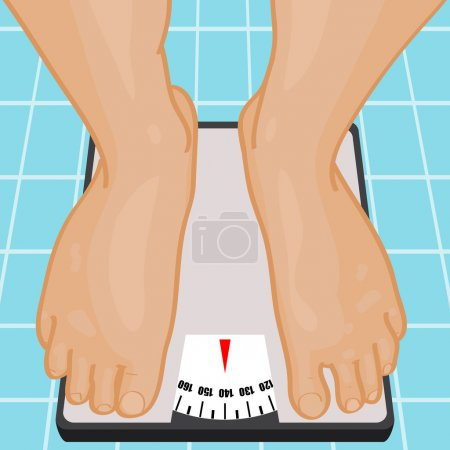 Illustration for Foot on bathroom scale. Vector illustration. - Royalty Free Image