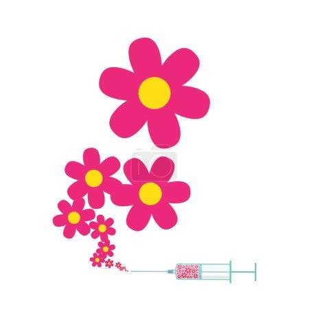 Illustration pour Seringue avec des fleurs. Illustration vectorielle abstrait - image libre de droit