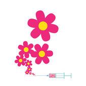 Syringe with flowers