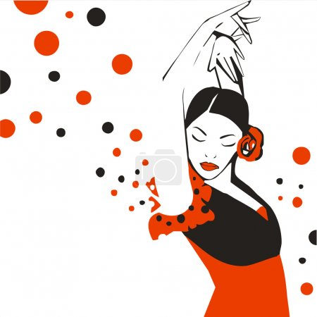 Illustration for Flamenco dancer. Abstract vector illustration. - Royalty Free Image