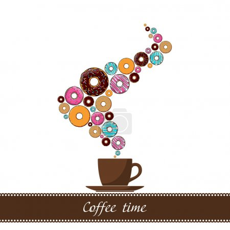 Abstract vector illustration of coffee-cup with donut.