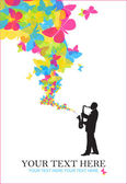 Saxophonist with butterflies vector illustration