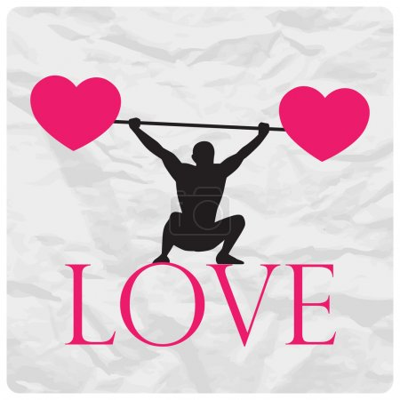 Abstract vector illustration of a weight lifter and hearts on a paper-background.