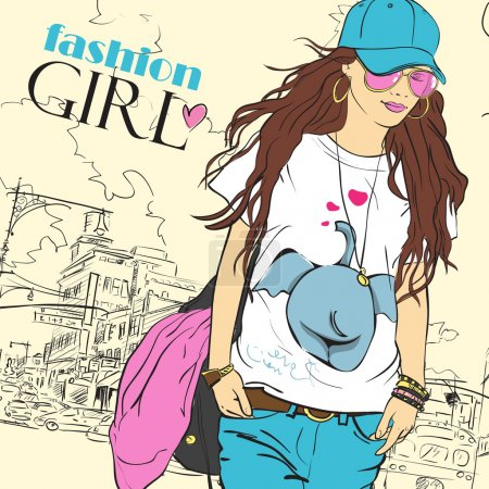 Illustration for Sexy fashion girl in sketch style on a city-background. Place for your text. - Royalty Free Image