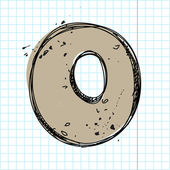 Number 0 in sketch-style on a writing-book-backgr ound Vector illustration