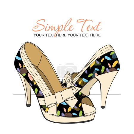 Fashion shoes with feather-print. Vector illustration. Place for your text.