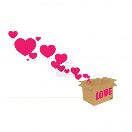 Hearts taking off from a box. Abstract vector illustration. Place for your text.