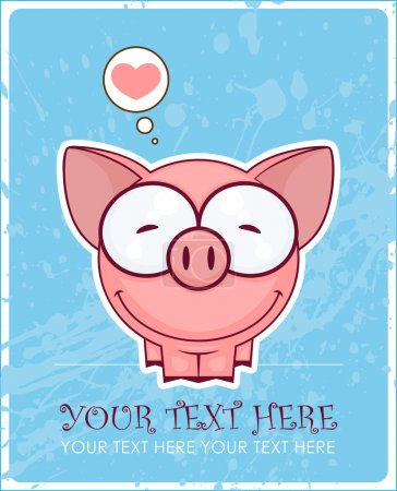 Illustration for Cute vector piggy with heart on a dirty-background. Place for your text. - Royalty Free Image
