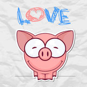 Cute vector piggy with heart Place for your text