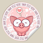 Vector sticker with pig Place for your text