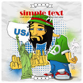 Rasta character on a usa-background. Vector illustration. Place for your text.