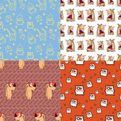 Set of vector seamless textures with cartoon animals