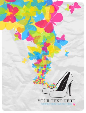 High-heeled shoes and butterflies.
