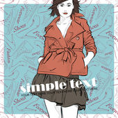 Young pretty girl on a fashion background Vector illustration Place for your text