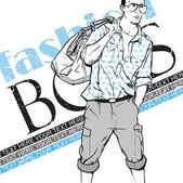 Fashion boy with bag and glasses in sketch-style on a grunge-background Vector illustration