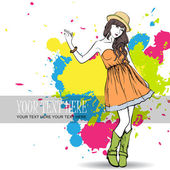 Pretty fashion girl on a grunge background Vector illustrator Place for your text