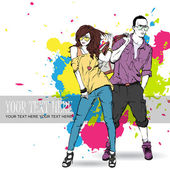 Fashion girl and stylish guy in sketch style