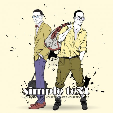 Vector illustration of two stylish guys on a dirty background.