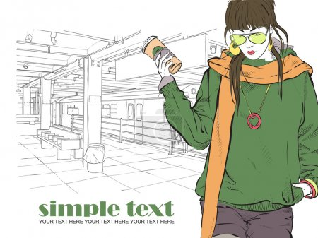 Fashion girl with coffee-cup in sketch style on a subway station