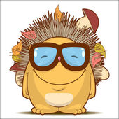 Vector illustration with funny cartoon hedgehog character