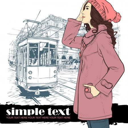 Illustration for Vector illustration of a fashion girl and old tram. - Royalty Free Image