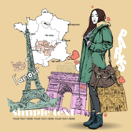 Illustration for Lovely autumnal girl in sketch-style on a french background. Vector illustration - Royalty Free Image