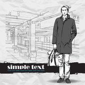 Stylish young guy at subway station Vector illustration