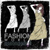 Ročník vektorové ilustrace krásné módní dívky v náčrtu stylu na černém pozadí