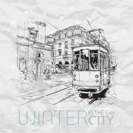 Illustration for Winter in the city. Vector illustration. - Royalty Free Image