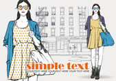 Cute young fashion girl on a street background Hand drawn vector illustration