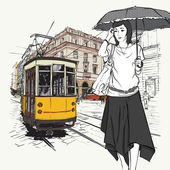 Vector illustration of a fashion girl and old tram