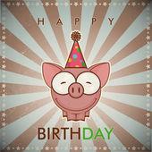 Happy birthday greeting card with funny cartoon pig