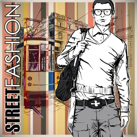Illustration for Vector illustration of a young stylish guy and old tram. - Royalty Free Image