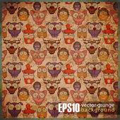 vintage background with cartoon animals