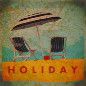 vintage background with deck chair and umbrella