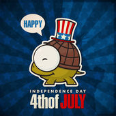 Happy 4th of July sticker card with cartoon turtle Vector illustration