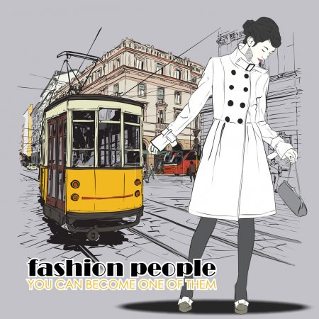 Illustration for Vector illustration of a pretty fashion girl and old tram. Vintage style. - Royalty Free Image