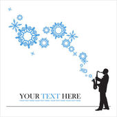 Abstract vector illustration of jazz maker and snowflakes