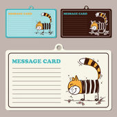 Set of vector message cards with cartoon cat character