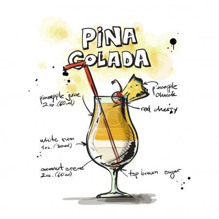 Illustration pour Illustration dessinée à la main du cocktail. Collecte vectorielle . - image libre de droit
