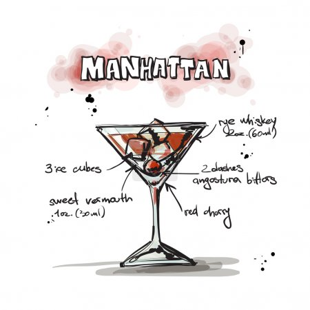 Illustration pour Illustration dessinée à la main du cocktail. Collecte vectorielle - image libre de droit
