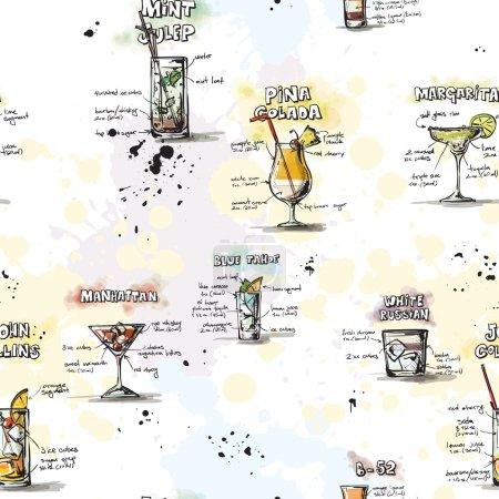 Illustration pour Modèle sans couture dessiné à la main avec des cocktails. Fond vectoriel . - image libre de droit