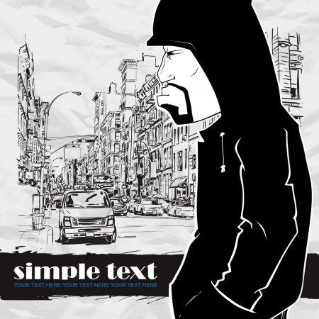 Illustration pour Personnage de graffiti sur fond de rue. Place pour votre texte . - image libre de droit