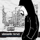 Graffiti character on a street-background Place for your text