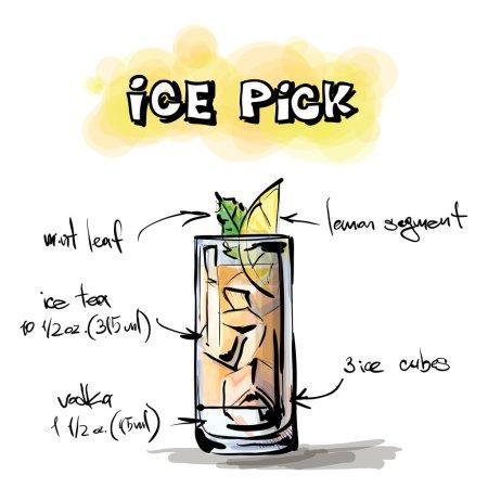 Illustration pour Illustration dessinée à la main du cocktail. ICE PICK. Collecte vectorielle . - image libre de droit