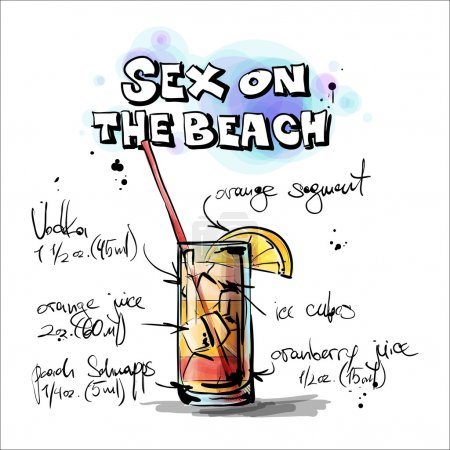 Hand drawn illustration of cocktail. SEX ON THE BEACH