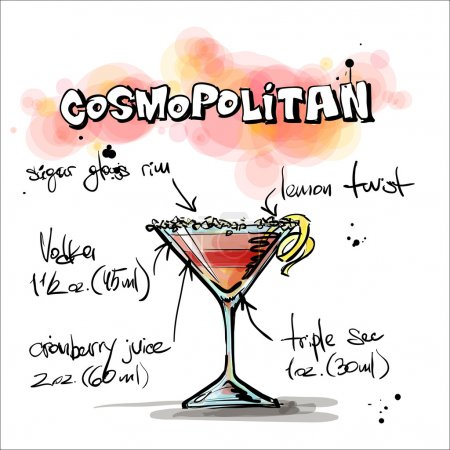 Illustration pour Illustration dessinée à la main du cocktail. COSMOPOLITAN. Collecte vectorielle . - image libre de droit