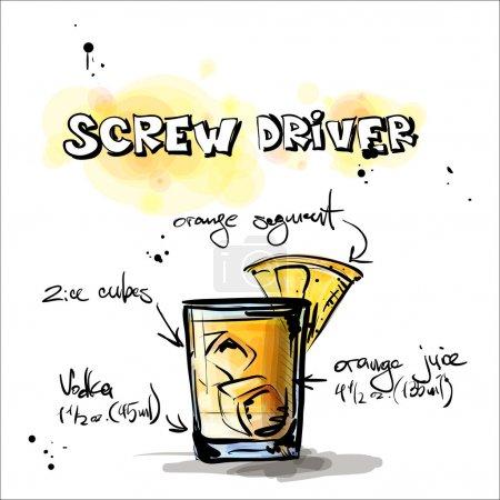 Illustration pour Illustration dessinée à la main du cocktail. Conducteur à balai. Collecte vectorielle . - image libre de droit