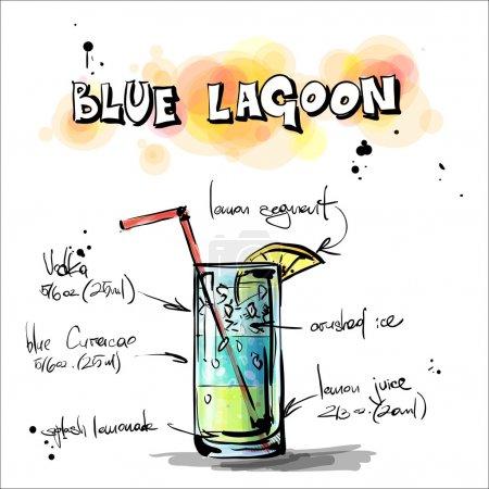 Illustration pour Illustration dessinée à la main du cocktail. LAGOON BLEU. Collecte vectorielle . - image libre de droit